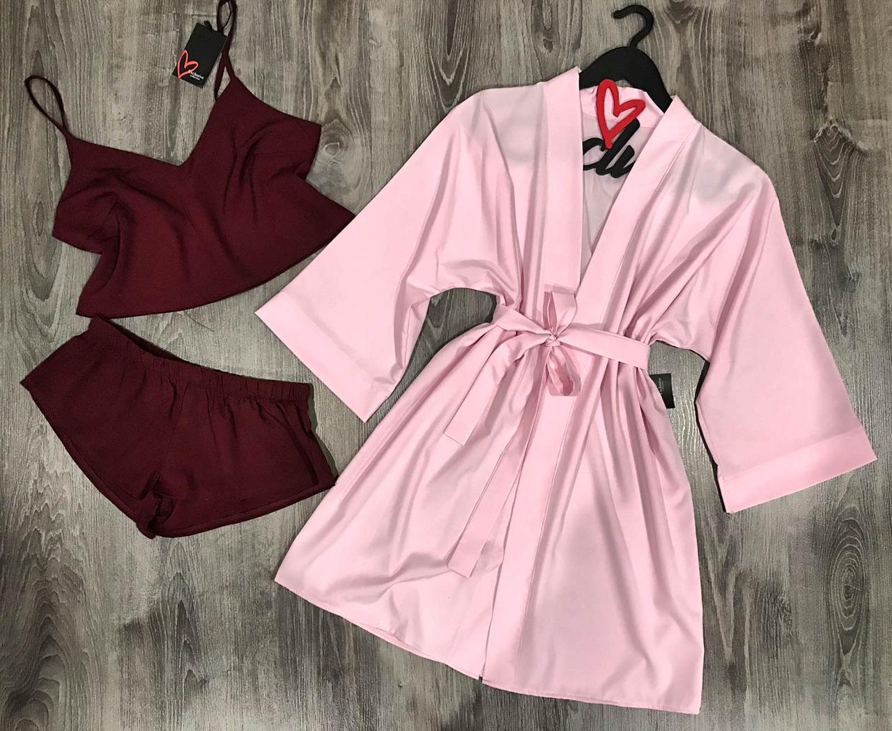 Халат с пижамой-молодежный комплект домашней одежды 047-094.
