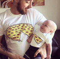 Парные футболки для папы и сына из 100 % Хлопка . Пицца