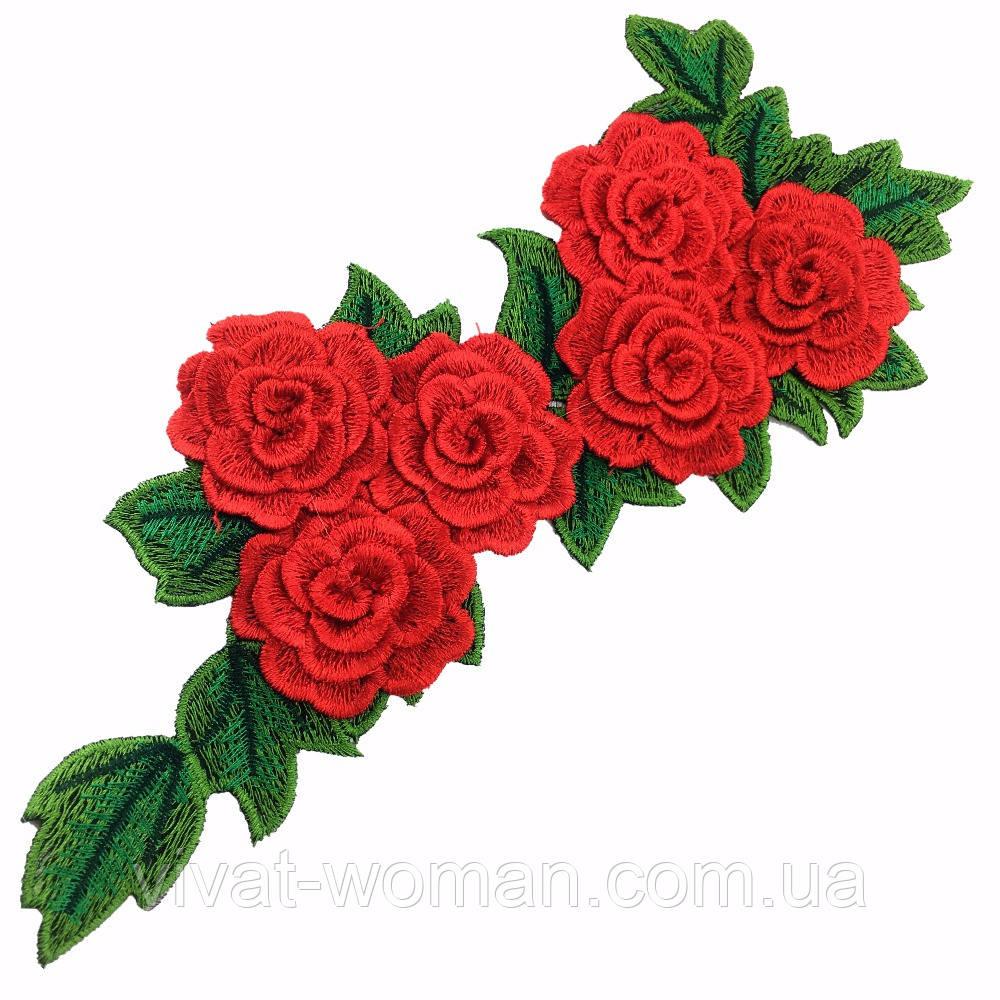 Лейс 3D Розы красные 27х11,5 см. Цена за 1 шт