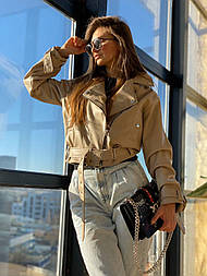 Жіноча стильна об'ємна куртка-косуха з ременем (2 кольори)