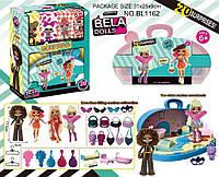 Игровой набор кукла Bella Dolls чемодан с мебелью д/кукол ,кукла 17,5см+сюрпризы: одежда, украшения, аксессуары,  в кор.25,5*9*31,5см /36-2/ (BL1162)