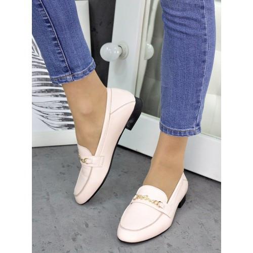 Женские туфли кожаные пудра Пегги 7257-28