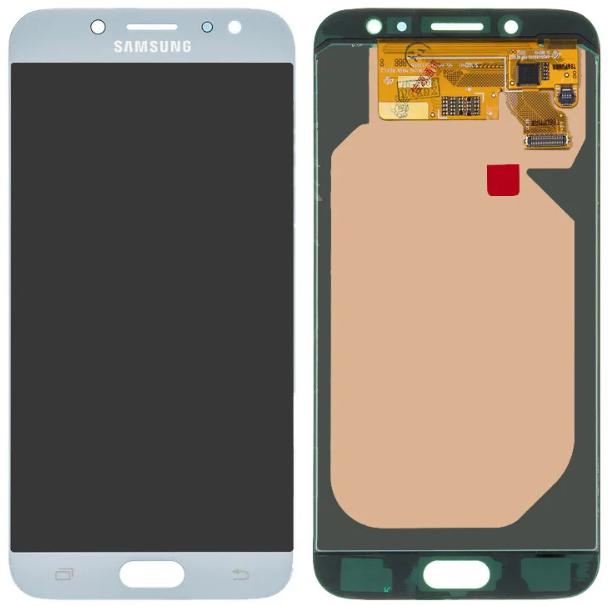 Дисплей (экран) для Samsung J730FM Galaxy J7 (2017) с сенсором (тачскрином) серебристый с регулировкой
