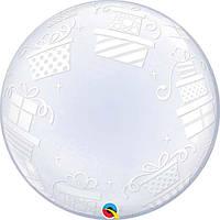 """Кулька Bubble 24"""" коробочки з подарунками Qualatex"""