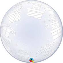 """Кулька Bubbles 24"""" коробочки з подарунками Qualatex"""