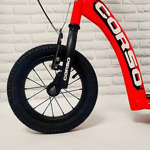 Самокат надувні колеса з ручним гальмом CORSO Корсо для дітей Помаранчевий