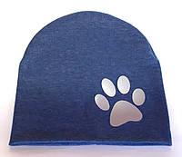 Шапка трикотажная двойная 48-50 синяя