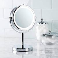 Косметическое зеркало для макияжа с увеличением и подсветкой . Настольное зеркало для макияжа с подсветкой .