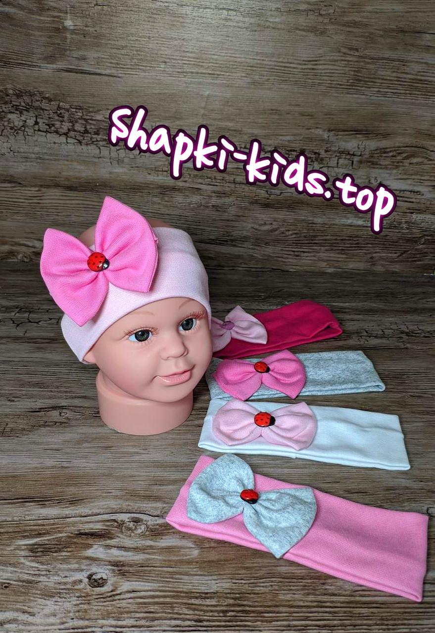 Трикотажная повязка с бантом для девочки Трикотажная Размер 1-3 года