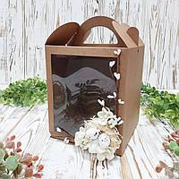 Коробка для кулича, подарков и пряничных домов крафт  с декором (160*160*190 мм)