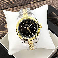Женские кварцевые наручные часы Rolex Date Just Diamonds Silver-Gold-Black