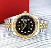 Женские кварцевые наручные часы Rolex Date Just Diamonds Silver-Gold-Black, фото 2