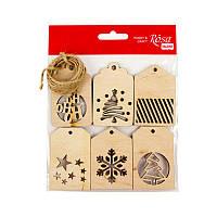 Заготовка для декорирования Rosa Talent (фанера) набор 6шт Теги новогодние-1 4*6 см 4801542
