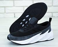 Кроссовки мужские Adidas Sharks в стиле Адидас Шарк, текстиль, текстиль код KD-11783. Серые с черным