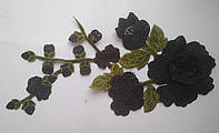 3D кружево Веточка розы черной 29х13,5 см. Цена за 1 шт, фото 1