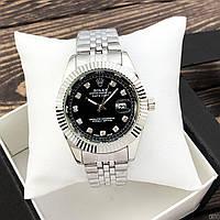 Женские кварцевые наручные часы Rolex Date Just Diamonds Silver-Black