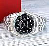 Женские кварцевые наручные часы Rolex Date Just Diamonds Silver-Black, фото 2