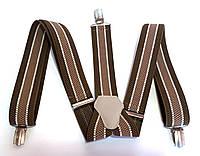Подтяжки для брюк ширина 3,5 см полосатые коричневые