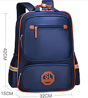 Рюкзак школьный ранец на колесах синий 369В