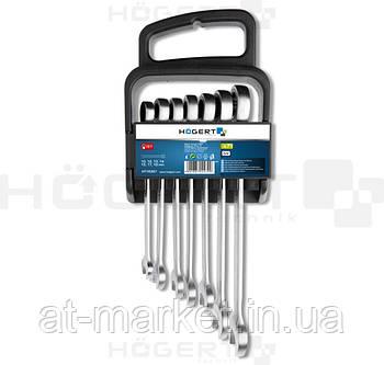 Набор комбинированных трещоточных ключей, 10-19 мм, 7 шт., 72T, сталь CrV 6140 HOEGERT HT1R397