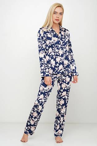 Шелковая пижама для дома рубашка штаны, фото 2