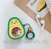 Чехол футляр для наушников AirPods Авокадо с жидкими блестками силиконовый