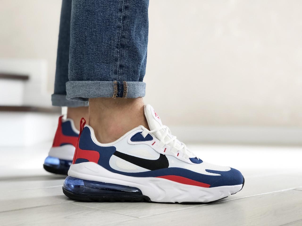Чоловічі кросівки Nike Air Max 270 React (біло-сині з червоним) 9142