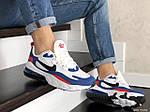 Чоловічі кросівки Nike Air Max 270 React (біло-сині з червоним) 9142, фото 2