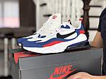 Чоловічі кросівки Nike Air Max 270 React (біло-сині з червоним) 9142, фото 3
