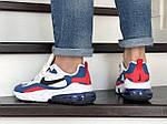 Чоловічі кросівки Nike Air Max 270 React (біло-сині з червоним) 9142, фото 5