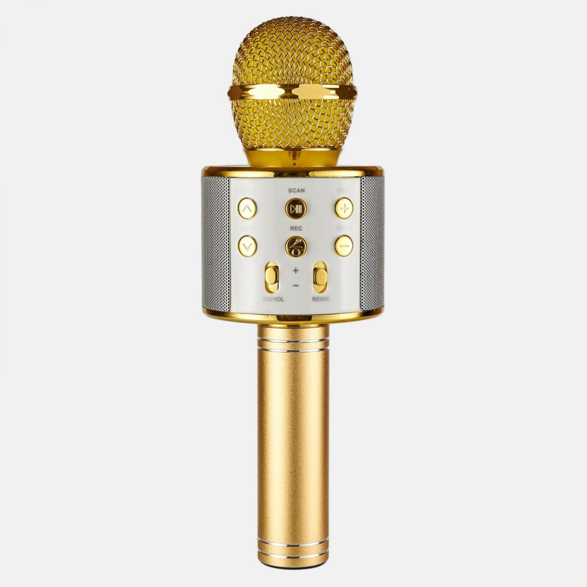 Беспроводной микрофон караоке 858 Золотой