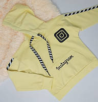 Трикотажная пайта кенгуру желтого цвета для девочки 128-158 р