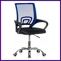 """Кресло Офисное Компьютерное BARDO B-619 Черно-Синее ХРОМ """"Офісне Крісло"""