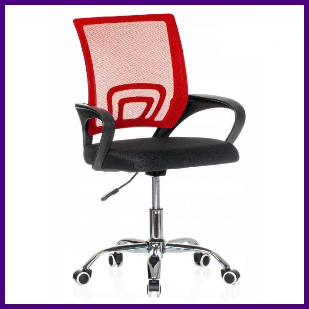 "Кресло Офисное Компьютерное BARDO B-619 Черно-красное ХРОМ ""Офісне Крісло"