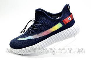 Детские кроссовки на липучке Baas Yeezy Boost темно-синие