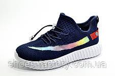 Дитячі кросівки на липучках Baas Yeezy Boost темно-сині, фото 3
