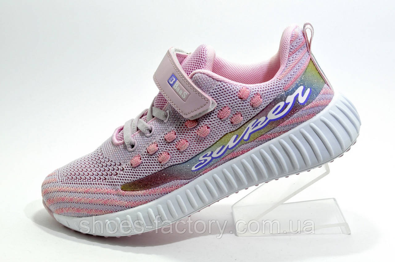 Детские кроссовки на липучке Baas Yeezy Boost, Pink\White