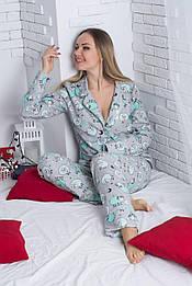 Пижама фланелевая П600 Барашки мятные