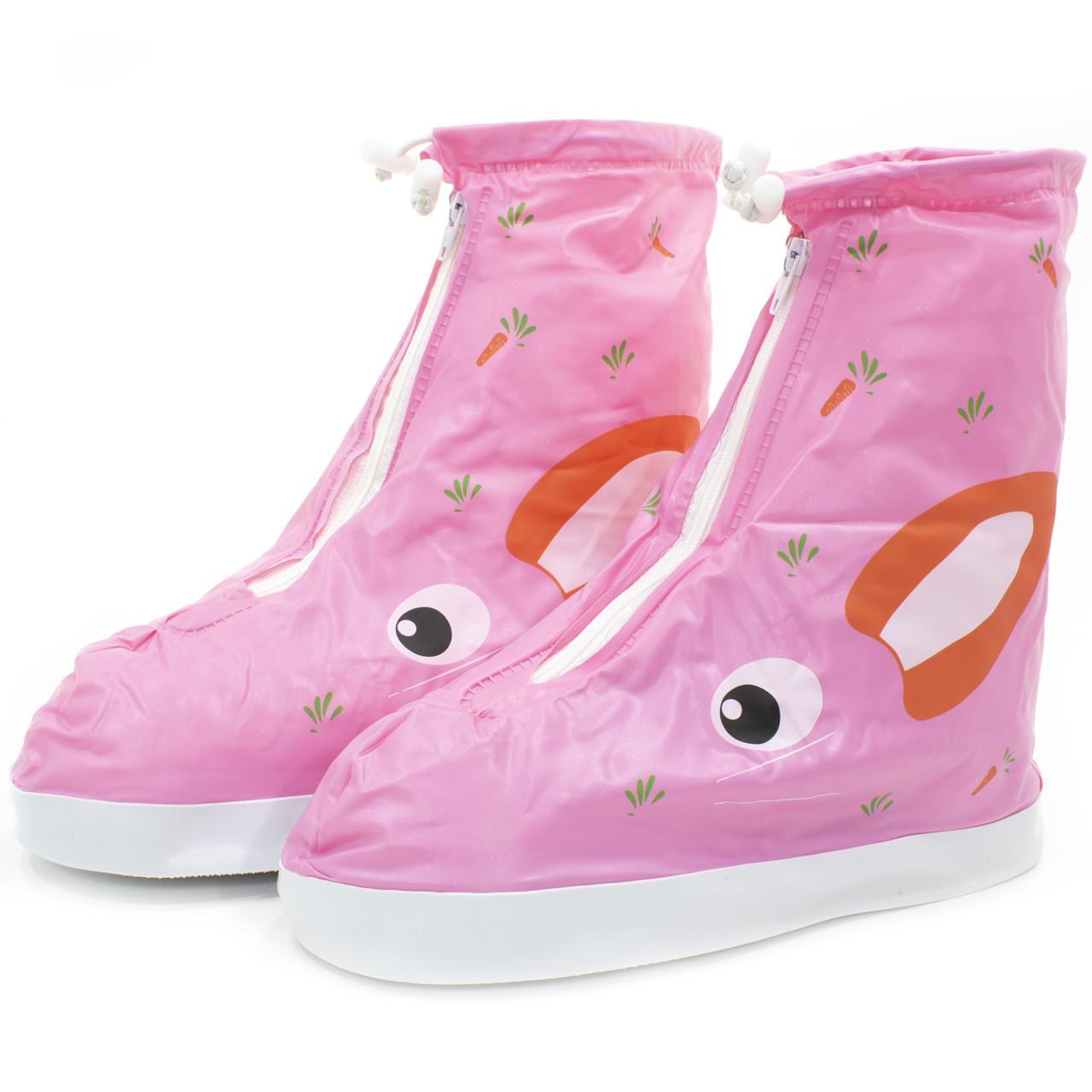 Детские резиновые бахилы Lesko размер S на обувь от дождя и грязи Кролик розовый на змейке и затяжках