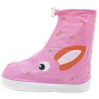 Детские резиновые бахилы Lesko размер S на обувь от дождя и грязи Кролик розовый на змейке и затяжках, фото 2