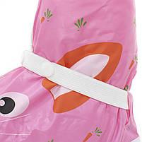 Детские резиновые бахилы Lesko размер S на обувь от дождя и грязи Кролик розовый на змейке и затяжках, фото 3