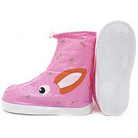 Детские резиновые бахилы Lesko размер S на обувь от дождя и грязи Кролик розовый на змейке и затяжках, фото 5