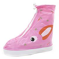 Детские резиновые бахилы Lesko размер S на обувь от дождя и грязи Кролик розовый на змейке и затяжках, фото 6