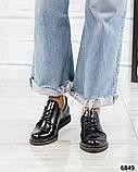 Стильные лаковые туфли женские на шнуровке, фото 6