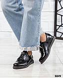 Стильные лаковые туфли женские на шнуровке, фото 7