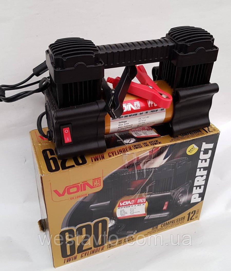 Компресор автомобільний VOIN, VL-620, 150 psi/28 Amp, 80л/ клеми/ 2-ух поршневий