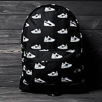 Стильный рюкзак с кроссами, молодежный портфель с принтом кроссовок, кросовки, Nike, New Balance, цвет черный