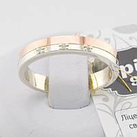 Серебряное кольцо с золотом ЯК280 белые фианиты вес 3.7 г размер 17