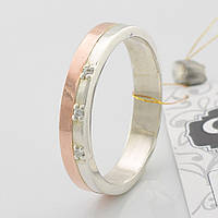 Серебряное кольцо с золотом ЯК280 белые фианиты вес 3.7 г размер 18