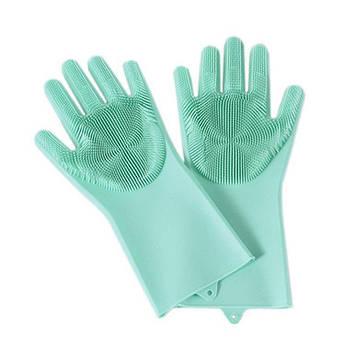 Силиконовые многофункциональные перчатки для мытья и чистки Magic Silicone Glov Бирюзовый